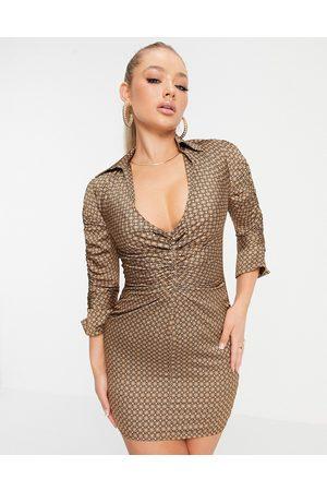 ASOS – Geometriskt mönstrad skjortklänning i minilängd av satin med rynkning-Flera