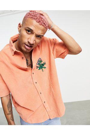 ASOS ASOS Actual – Blombroderad boxig oversize skjorta i grov manchester och 90-talsstil