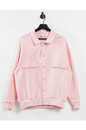 ASOS – skjortjacka i borstat material och unisex-modell-Pink