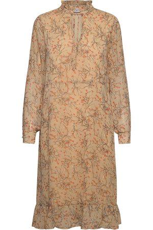 Saint Tropez U6021, Woven Dress L/S Knälång Klänning Beige