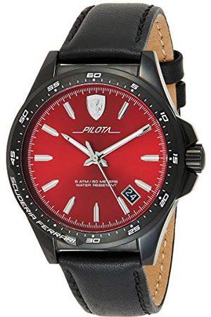 Scuderia Ferrari Analog klassisk kvartsklocka för män med läderrem 0830525