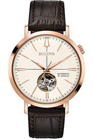 BULOVA Man Klockor - Herr analog klassisk automatisk klocka med läderrem 97A136