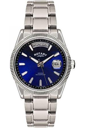 Rotary Roterande kvartsklocka för män med urtavla analog display och rostfritt stål armband GB02660/05