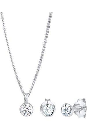 Elli Dam 925 Sterling Silver Basic Swarovski-kristaller Glamour glittrande smyckesset e Silver, colore: Vitt, cod. 0910241413_45