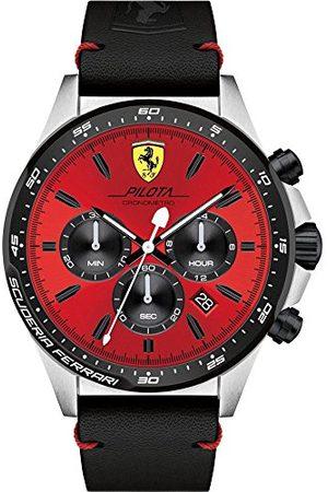 Scuderia Ferrari Mäns kronograf kvarts armbandsur med läderarmband