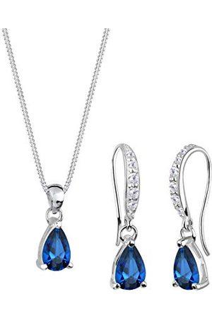 Elli Damhalsband + örhängen droppar 925 sterlingsilver syntetisk safir droppslipning 0910910313_45–45 cm längd
