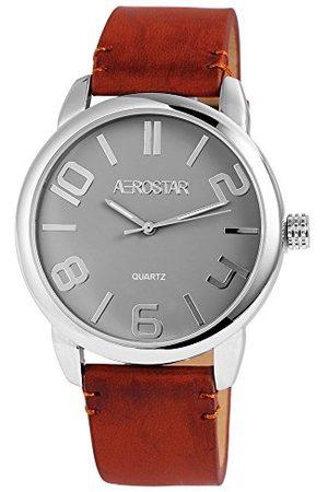 Aerostar Herr analog kvartsklocka med lädermitat armband 21102700004