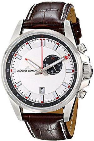 Jacques Lemans Herr analog kvartsklocka med läderarmband 1–1653B
