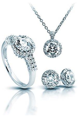 DIAMONFIRE Dam-smyckesset halskedja + örhängen + ring klassisk set i 4 delar 925 rhodinerad zirkon briljant vit – 13/1269/1/917
