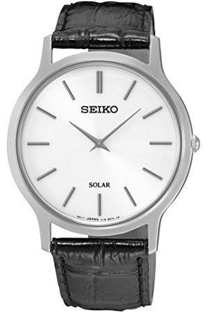 Seiko Solar herrklocka rostfritt stål med läderband SUP873P1