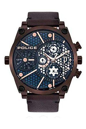 Police Polis unisex vuxna analog kvartsklocka med läderarmband PL15381JSBZ.03