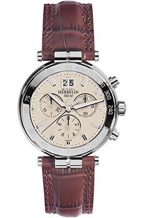 Michel Herbelin Unisex vuxna kronograf klocka med läderarmband 36654/AP17MA