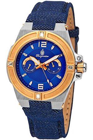 Burgmeister Herr kvartsklocka med urtavla analog display och blått tyg och kanvasarmband BM220-933-1