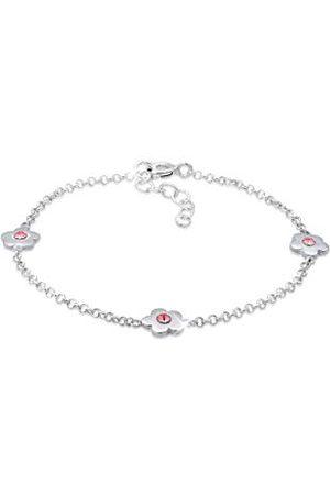 Elli Barn äkta smycken armband blommor barn med Swarovski-kristaller rosa i 925 sterling 14 cm längd
