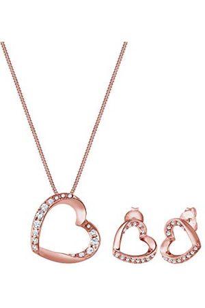 Elli Premium damsmyckesuppsättning halsband + örhängen hjärta e silver, colore: Rödguld, cod. 0903810217_45