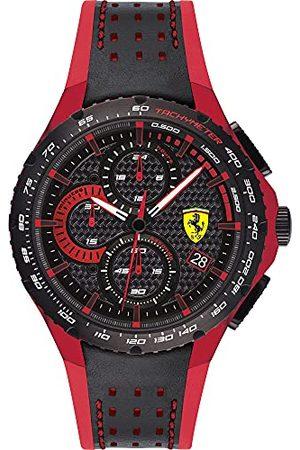 Scuderia Ferrari Analog kvartsklocka för män med läderrem 0830733