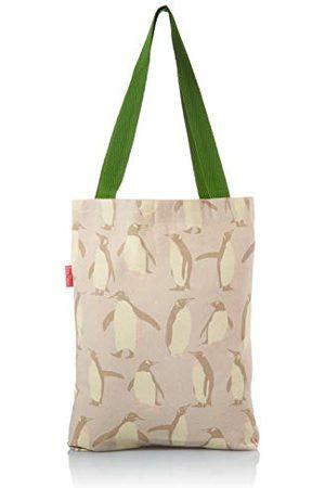 Bonamaison Tryckt tygväska, återanvändbar matkasse, shoppingväska, maskintvättbar, vikbar, canvasduk väska med gröna handtag, storlek: 34 x 40 cm