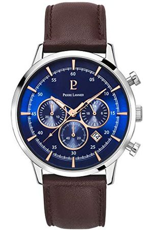 Pierre Lannier Herr analog kvartsklocka med läderrem 224G169
