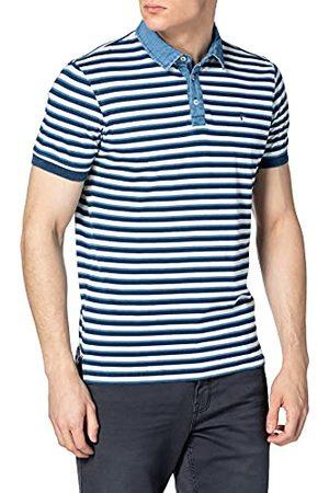Pioneer Herr polo-Shirt ränder indigo polotröja
