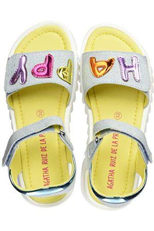 Agatha Ruiz de la Prada Flicka 202960 sandaler med öppen tå, Vaquero Textile Metalizado Paprika28 EU