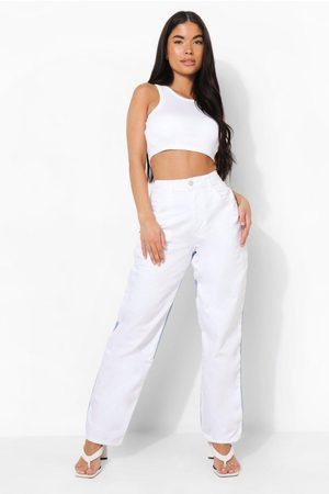 Boohoo Petite - Boyfriend Jeans Med Blockfärger, White