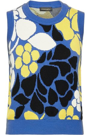 STINE GOYA Yarrow, 1210 Banana Leaf Knit Vests Knitted Vests Multi/mönstrad