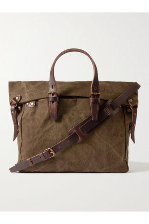 BLEU DE CHAUFFE Leather-Trimmed Cotton-Canvas Messenger Bag