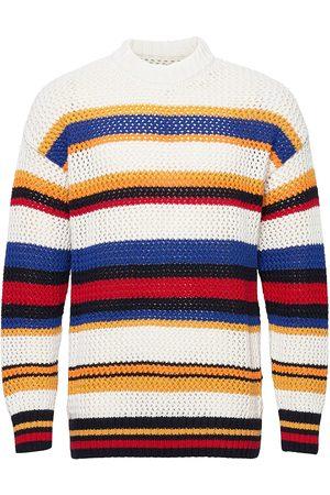 GANT D1. Open Knit Stripe C-Neck Stickad Tröja M. Rund Krage Multi/mönstrad