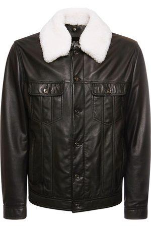 Dolce & Gabbana Leather Jacket W/ Shearling Collar