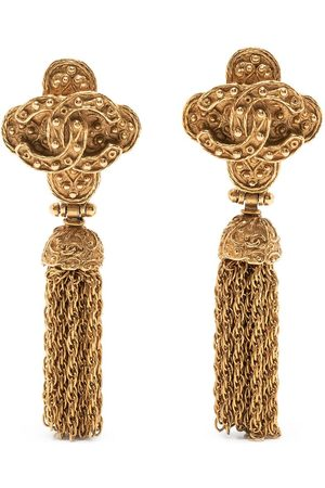 CHANEL 1994 CC fringed clip-on earrings