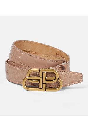 Balenciaga Kvinna Bälten - BB croc-effect leather belt