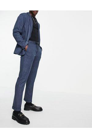 ASOS – Smala, marinblå mjuka kostymbyxor av twill med vid, skräddad passform och dragsko i midjan