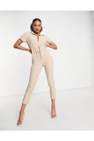 I saw it first – Stenfärgad jumpsuit i cargostil med elastisk midja-Natur