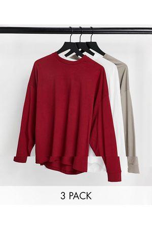 ASOS – Långärmad t-shirt i oversize i 3-pack-Flera