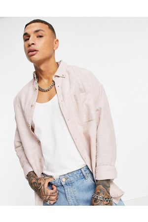 ASOS – linneskjorta i 90-tals- och oversize-Pink