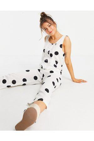 ASOS – Monokrom prickig jumpsuit i minimalistisk design av linneblandat tyg-Flera