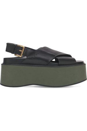 Marni 60mm Fussbett Leather Wedge Sandals