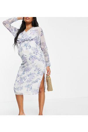 ASOS Maternity – Blommig midiklänning i slouchy passform med blusärmar-Flera