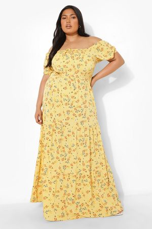 Boohoo Plus Off Shoulder Floral Tiered Maxi Dress, Yellow