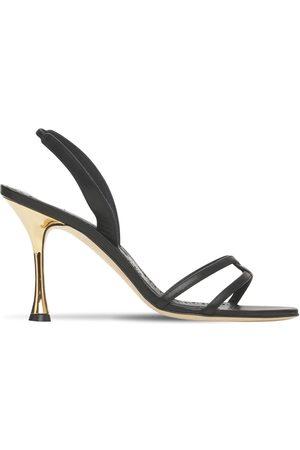 Manolo Blahnik 90mm Racita Leather Sling Back Sandals