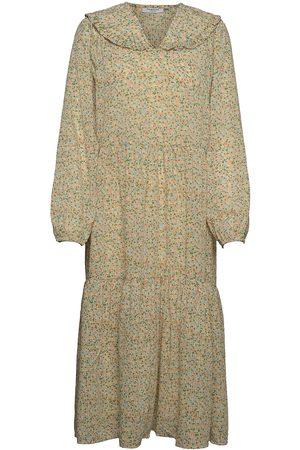 Moss Copenhagen Evette Ls Dress Aop Maxiklänning Festklänning Grön