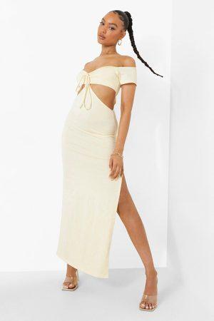 Boohoo Kvinna Bandeauklänningar - Off Shoulder-Klänning Med Cut-Out Och Knytdetalj