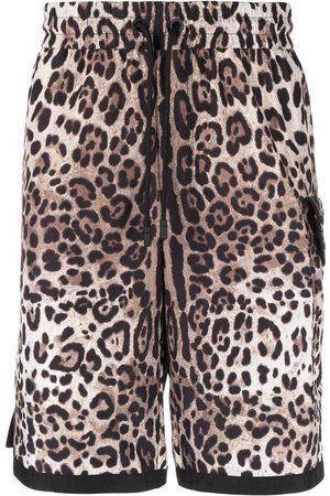 Dolce & Gabbana DG patch leopard print shorts