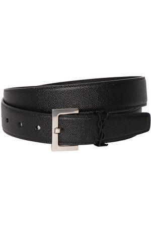 SAINT LAURENT 3cm Ysl Leather Belt