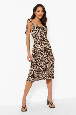 Boohoo Leopardmönstrad Midiklänning Med Korsettliv, Brown