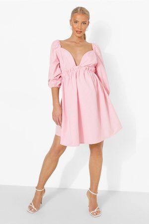 Boohoo Mammakläder - Bomullsklänning Med Volanger, Pink
