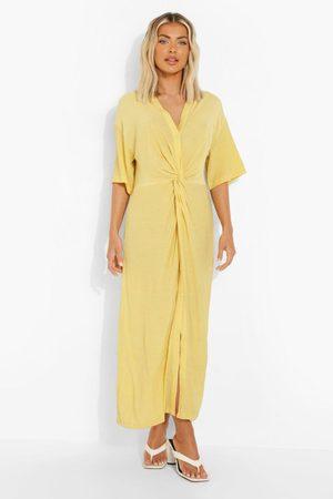 Boohoo Knälång Skjortklänning Med Knytdetalj, Yellow