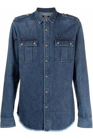 Balmain Man Jeansskjortor - EMBOSSED RAW BOTTOM DENIM SHIRT