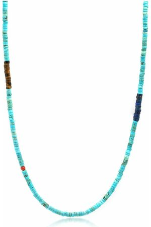 Nialaya Turquoise Heishi Necklace with Tiger Eye and Blue Lapis
