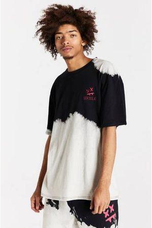 SikSilk T-Shirt Bleach Wash Oversized Tee Svart